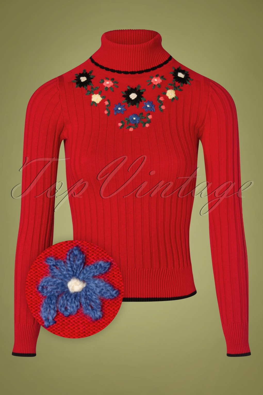 Vintage Sweaters, Retro Sweaters & Cardigan Ladies 60s Cheri Fleur Turtleneck Sweater in Chili Red £91.84 AT vintagedancer.com