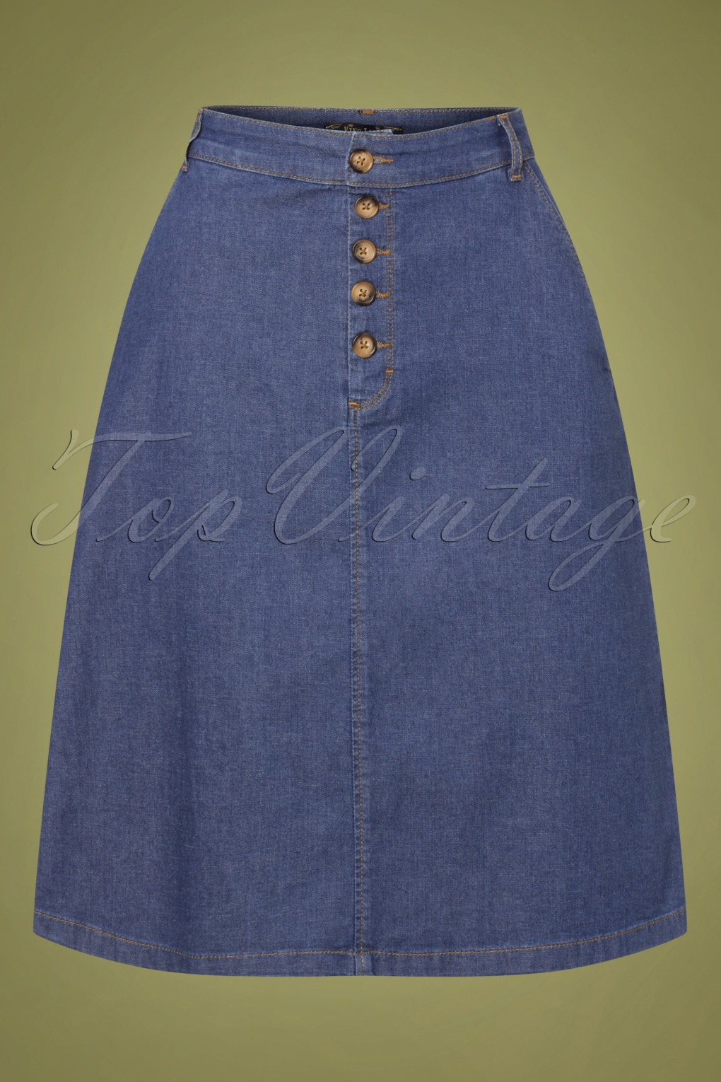 1960s Style Dresses, Clothing, Shoes UK 60s High Waist Chambray Button Skirt in River Blue £71.42 AT vintagedancer.com