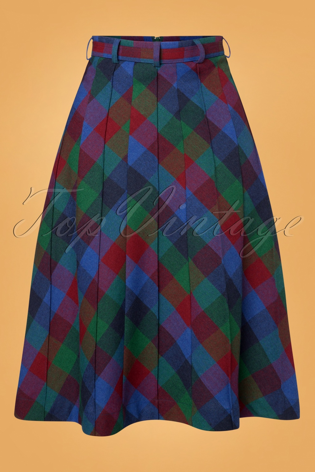 1940s Style Skirts- Vintage High Waisted Skirts 40s Harper Cornel Check Wool Skirt in Dutch Blue £80.35 AT vintagedancer.com