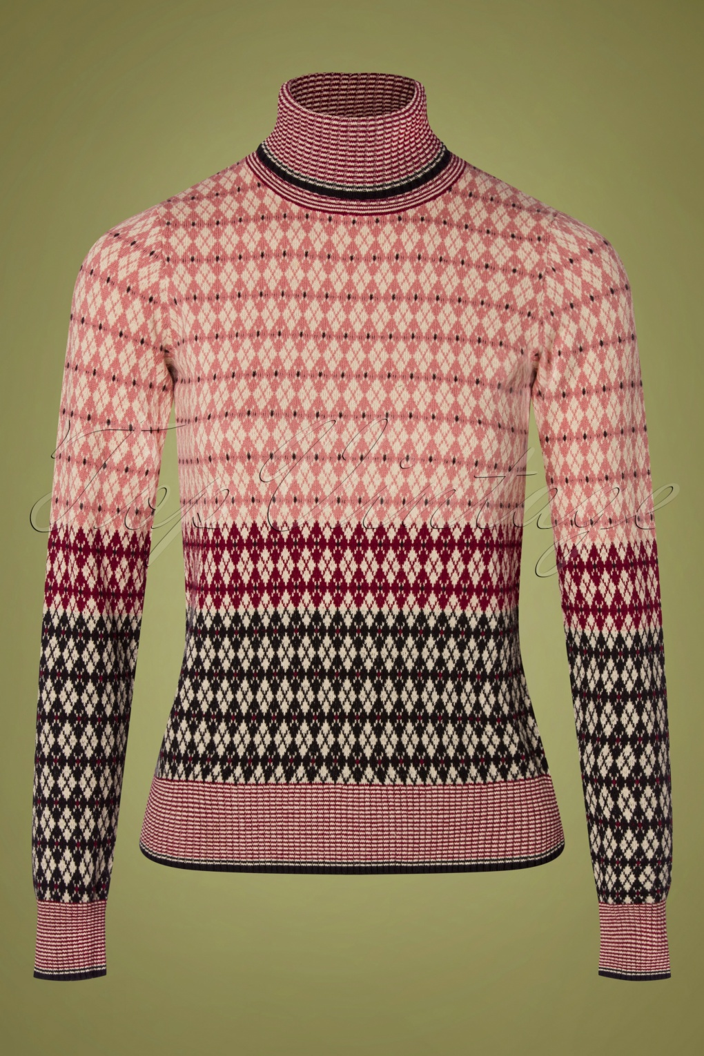 Vintage Sweaters, Retro Sweaters & Cardigan 70s Preppy Rollneck Sweater in Dusty Rose £68.15 AT vintagedancer.com