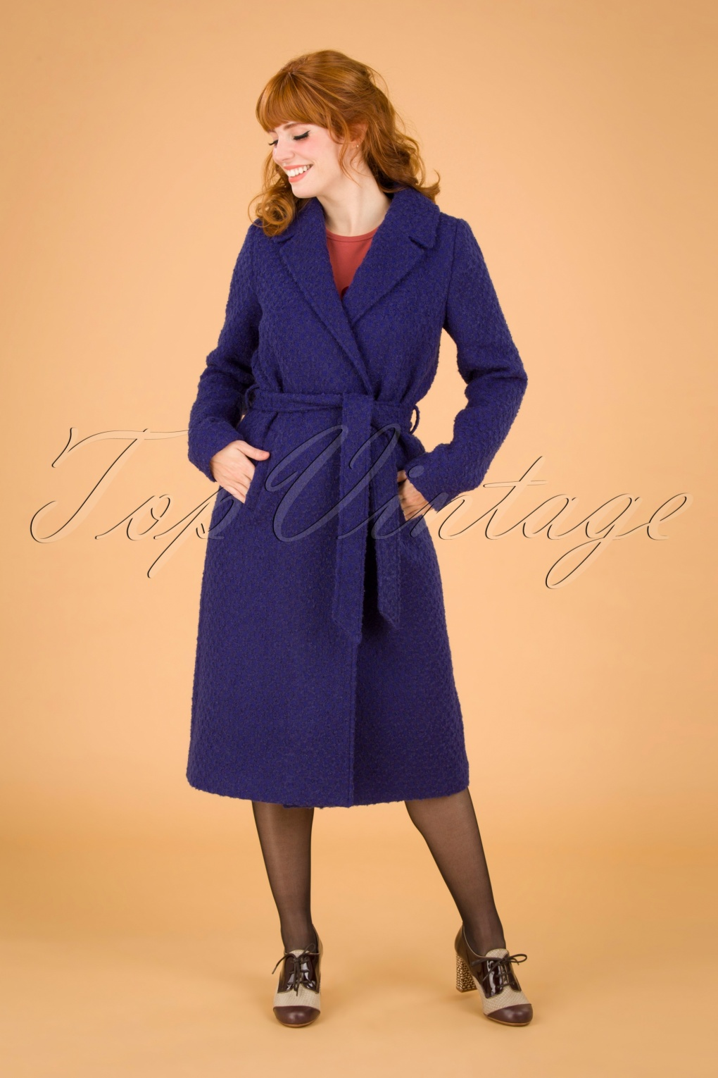 1950s Jackets, Coats, Bolero | Swing, Pin Up, Rockabilly 60s Robin Ottawa Coat in Dazzling Blue £178.61 AT vintagedancer.com