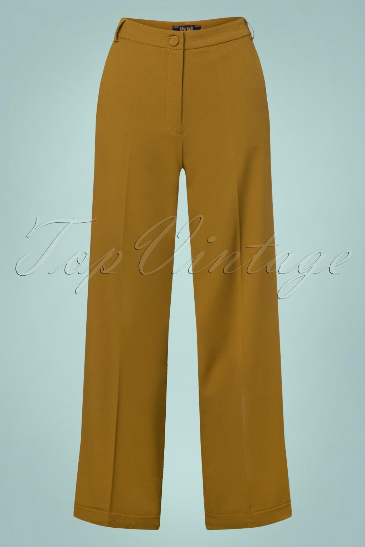 1950s Pants & Jeans- High Waist, Wide Leg, Capri, Pedal Pushers 40s Ethel Tuillerie Pants in Chartreuse Yellow £71.46 AT vintagedancer.com