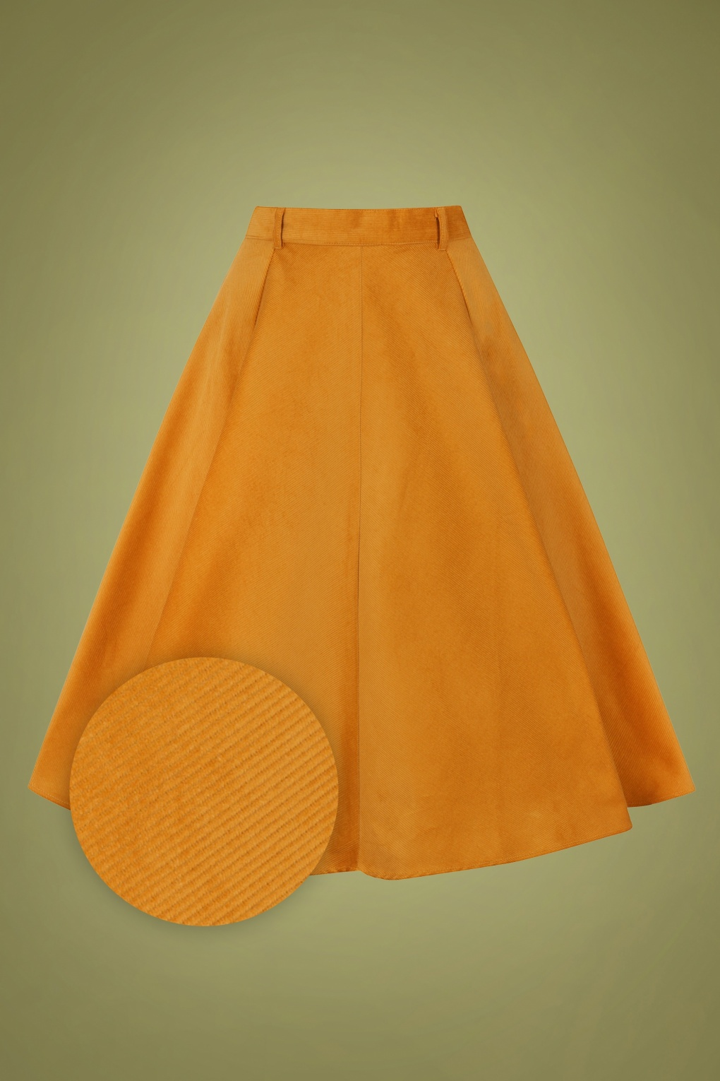 1940s Style Skirts- Vintage High Waisted Skirts 70s Jefferson Swing Skirt in Mustard Corduroy £57.48 AT vintagedancer.com