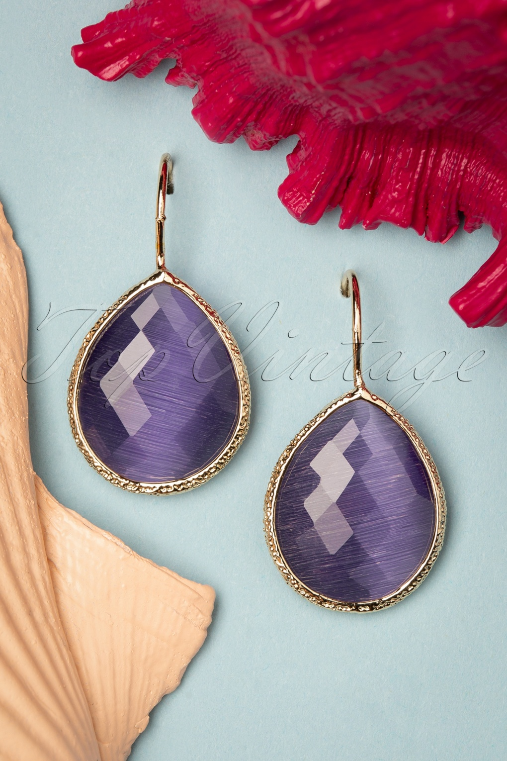 Vintage Style Jewelry, Retro Jewelry 50s Lavina Stone Drop Earrings in Purple £15.07 AT vintagedancer.com