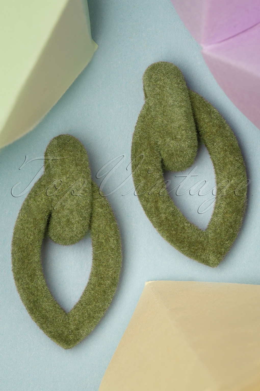 Vintage Style Jewelry, Retro Jewelry 50s Kaycee Velvet Earrings in Olive £8.91 AT vintagedancer.com