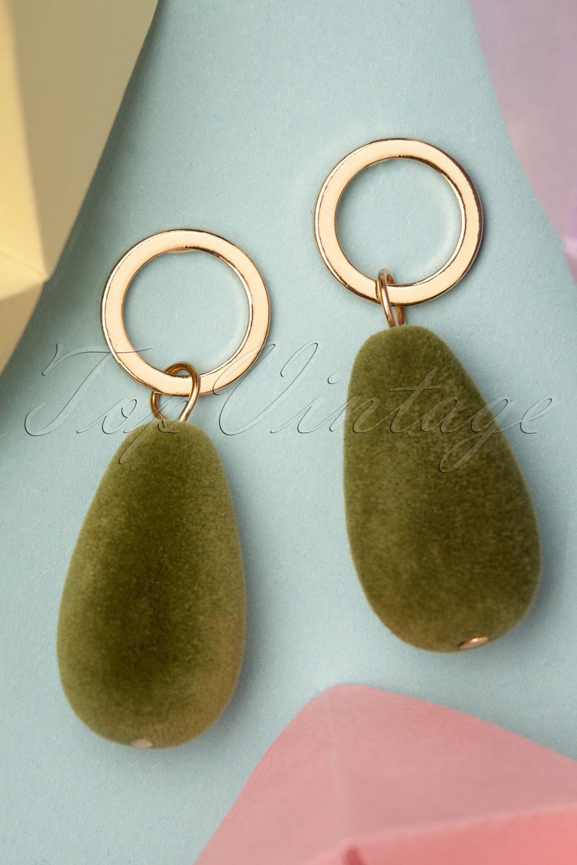 50s Jewelry: Earrings, Necklace, Brooch, Bracelet 50s Tonya Velvet Earrings in Olive £8.89 AT vintagedancer.com
