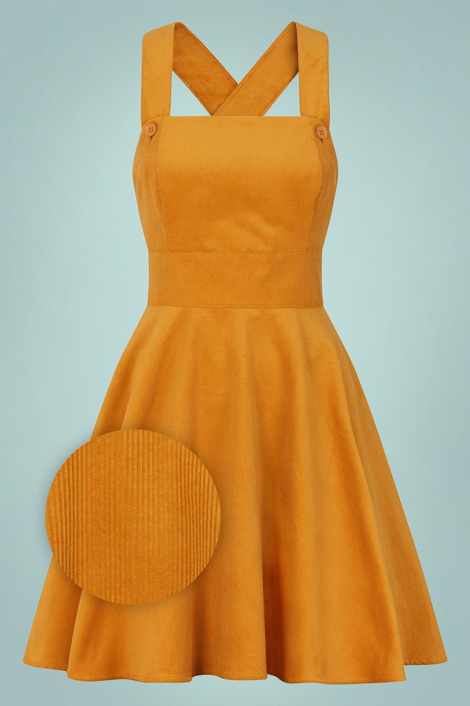 60s Dresses | 1960s Dresses Mod, Mini, Hippie 60s Wonder Years Pinafore Dress in Mustard £50.41 AT vintagedancer.com