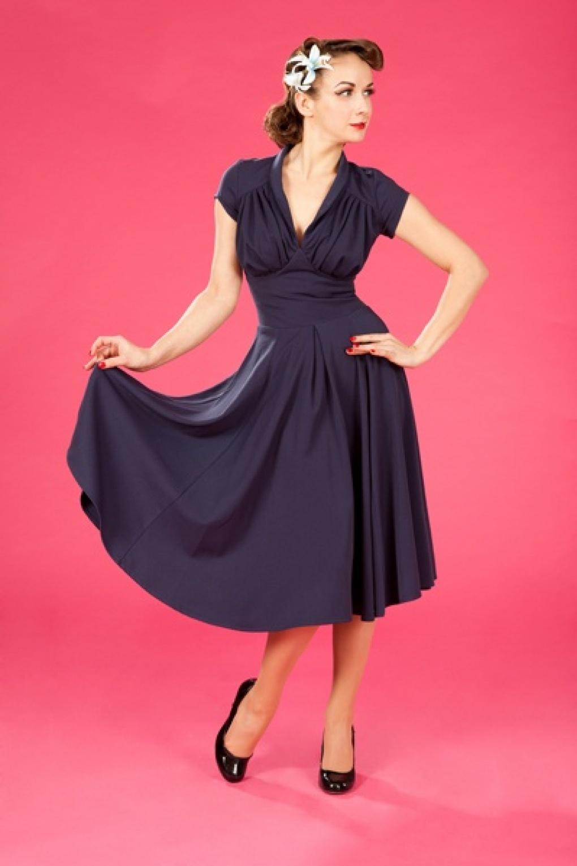 50s Odette Navy swing dress