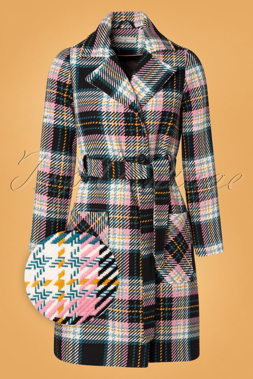 Vintage Coats & Jackets | Retro Coats and Jackets 60s Lets Cozy Up Coat in Black and Petrol £175.53 AT vintagedancer.com