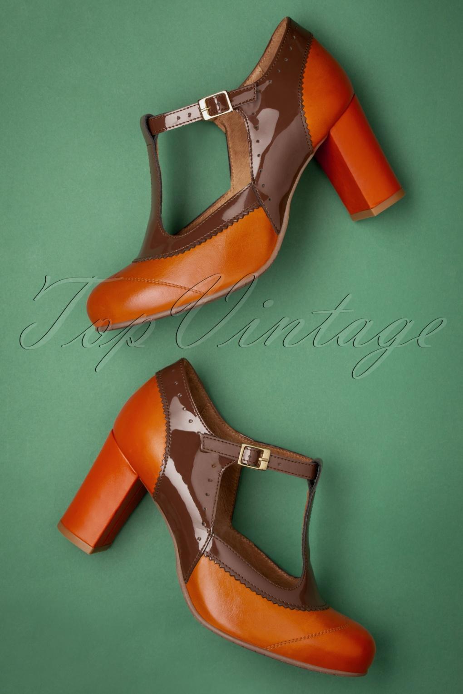 Vintage Shoes, Vintage Style Shoes 60s Ada Leather T-Strap Pumps in Orange and Brown £127.83 AT vintagedancer.com