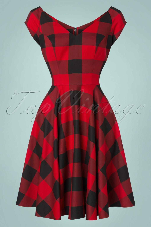 1950s Dresses, 50s Dresses | 1950s Style Dresses 50s Teen Spirit Swing Dress in Black and Red £64.07 AT vintagedancer.com