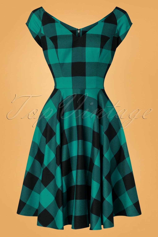1950s Dresses, 50s Dresses | 1950s Style Dresses 50s Teen Spirit Swing Dress in Black and Green £64.07 AT vintagedancer.com