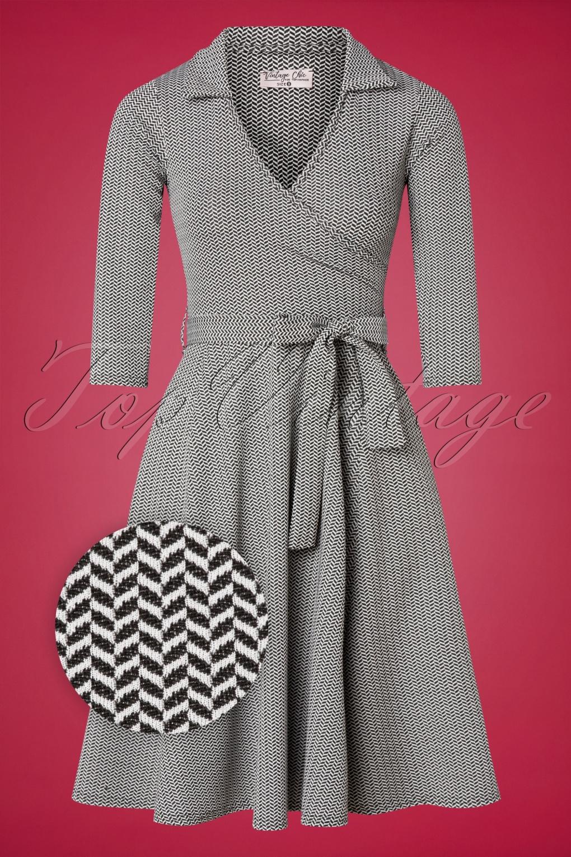 1950s Dresses, 50s Dresses | 1950s Style Dresses 50s Gloria Wrap Dress in Black and White £50.19 AT vintagedancer.com