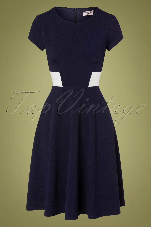Sailor Dresses, Nautical Theme Dress, WW2 Dresses 50s Georgina Swing Dress in Navy and White £24.95 AT vintagedancer.com