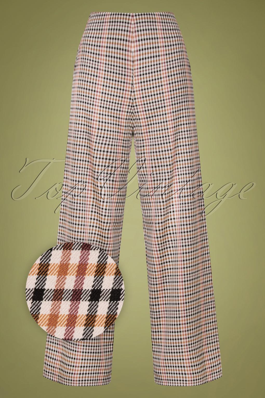 1940s Swing Pants & Sailor Trousers- Wide Leg, High Waist 40s Marlene Pants in Nottingham Check £89.59 AT vintagedancer.com