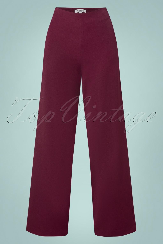 1940s Swing Pants & Sailor Trousers- Wide Leg, High Waist 40s Marlene Pants in Burgundy £89.59 AT vintagedancer.com