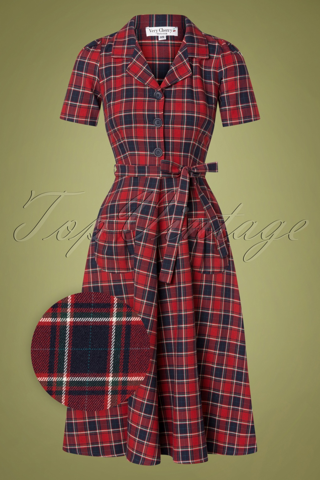 Vintage Shirtwaist Dress History 40s Revers Brittania Dress in Red £124.70 AT vintagedancer.com