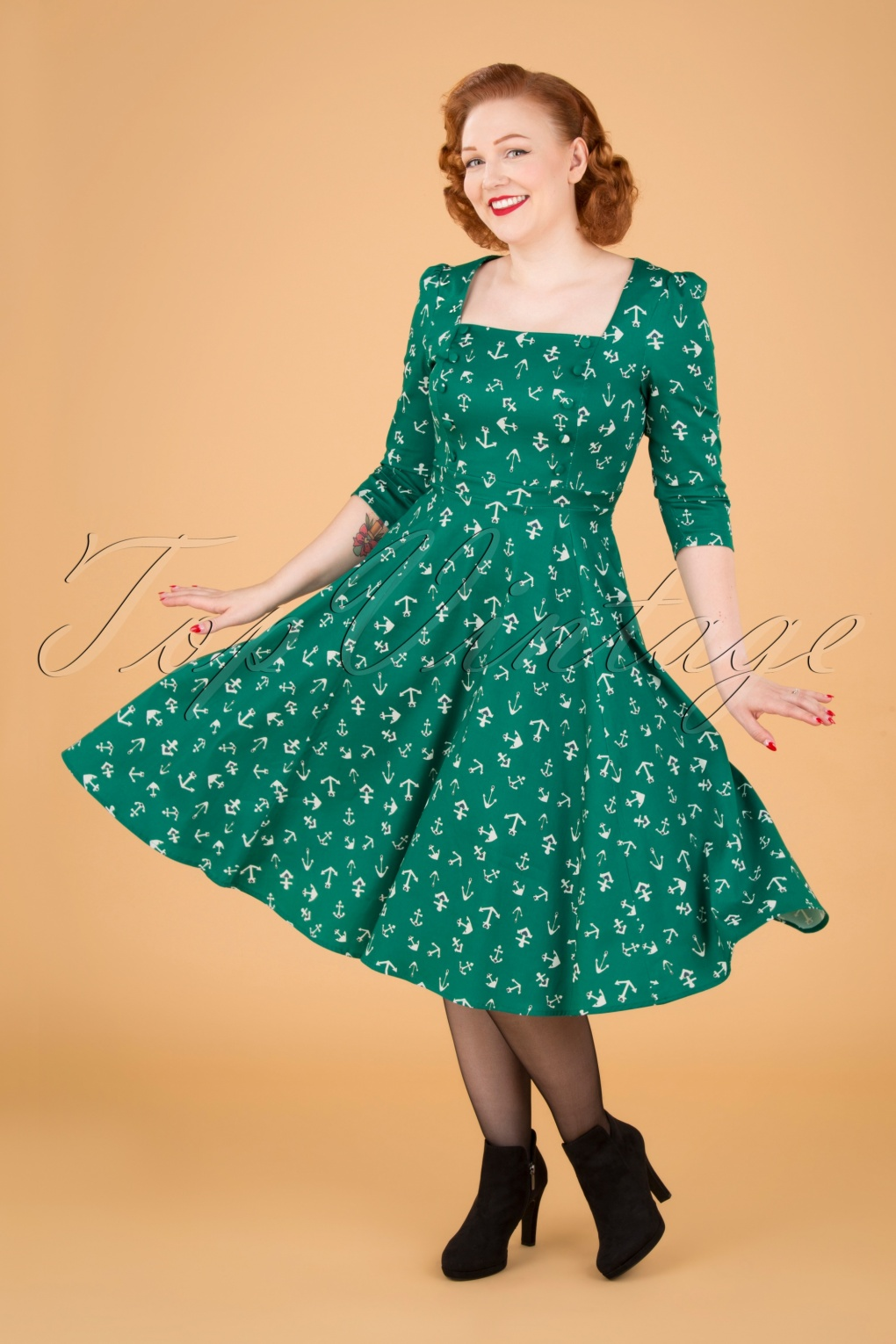 Vintage Cruise Outfits, Vacation Clothing 50s Madeline Anchor Swing Dress in Green £53.29 AT vintagedancer.com