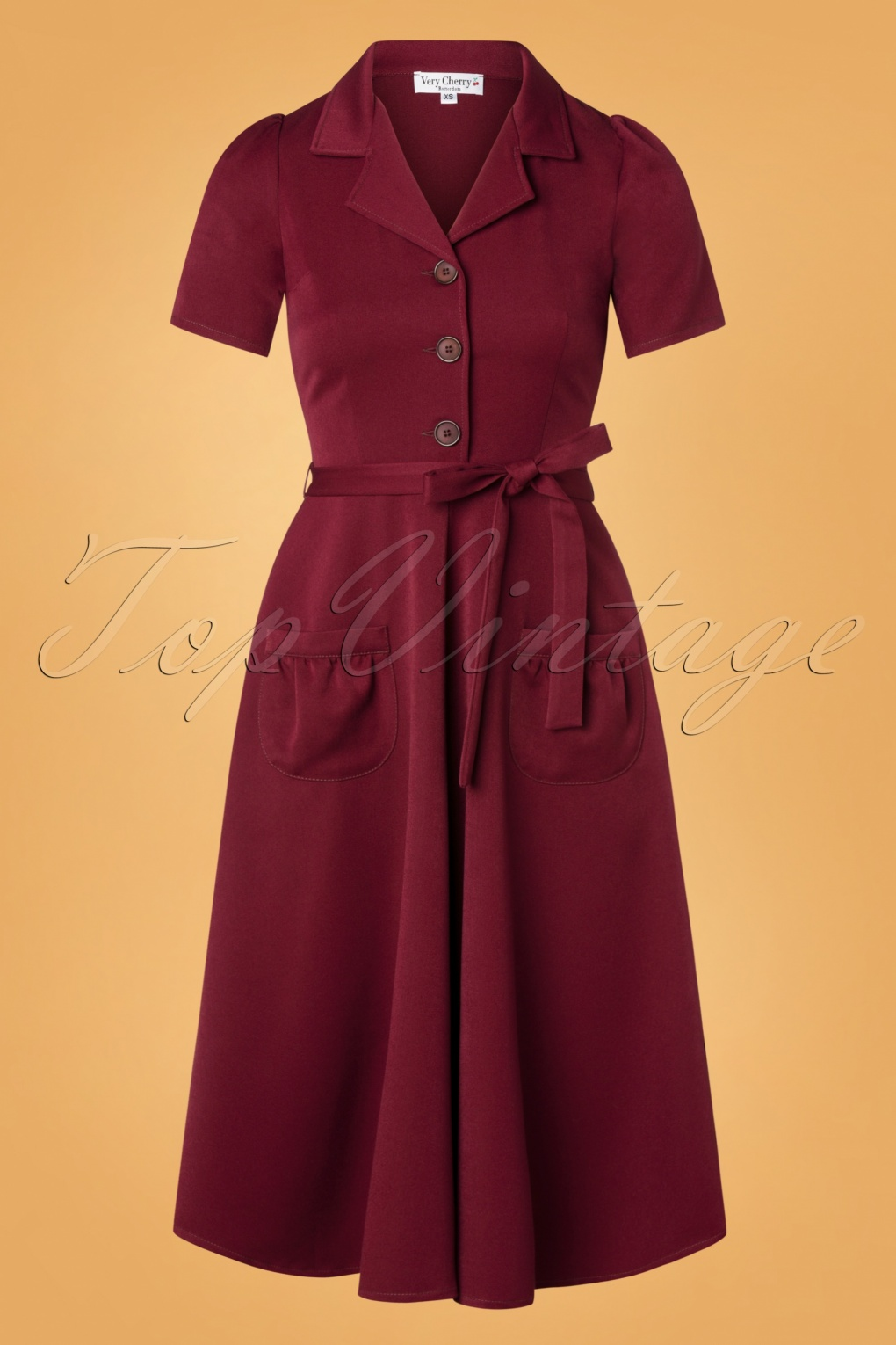 1940s Dresses and Clothing UK | 40s Shoes UK 40s Revers Gabardine Dress in Burgundy £120.08 AT vintagedancer.com