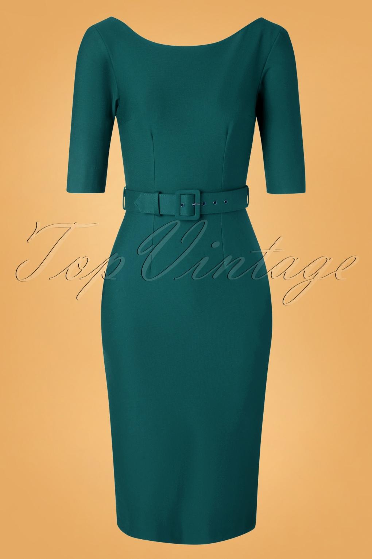 50s Dresses UK | 1950s Dresses, Shoes & Clothing Shops 50s Margot Pencil Dress in Teal £129.32 AT vintagedancer.com