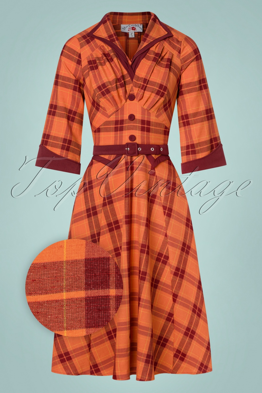 Pin Up Girl Costumes | Pin Up Costumes TopVintage exclusive  50s Juniper Tartan Swing Dress in Rust Orange £122.37 AT vintagedancer.com