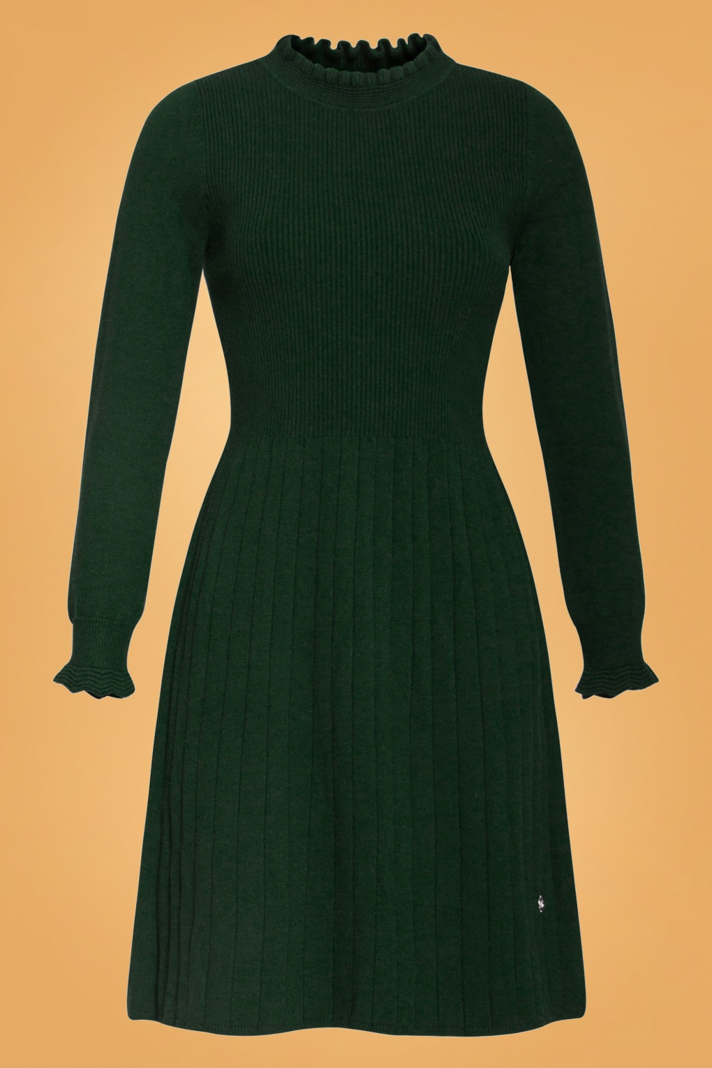 60s Dresses | 1960s Dresses Mod, Mini, Hippie 60s Kyala Knitted Dress in Forest Green £82.65 AT vintagedancer.com