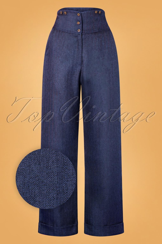 1950s Pants & Jeans- High Waist, Wide Leg, Capri, Pedal Pushers 50s Sassy Trousers in Blue £37.84 AT vintagedancer.com