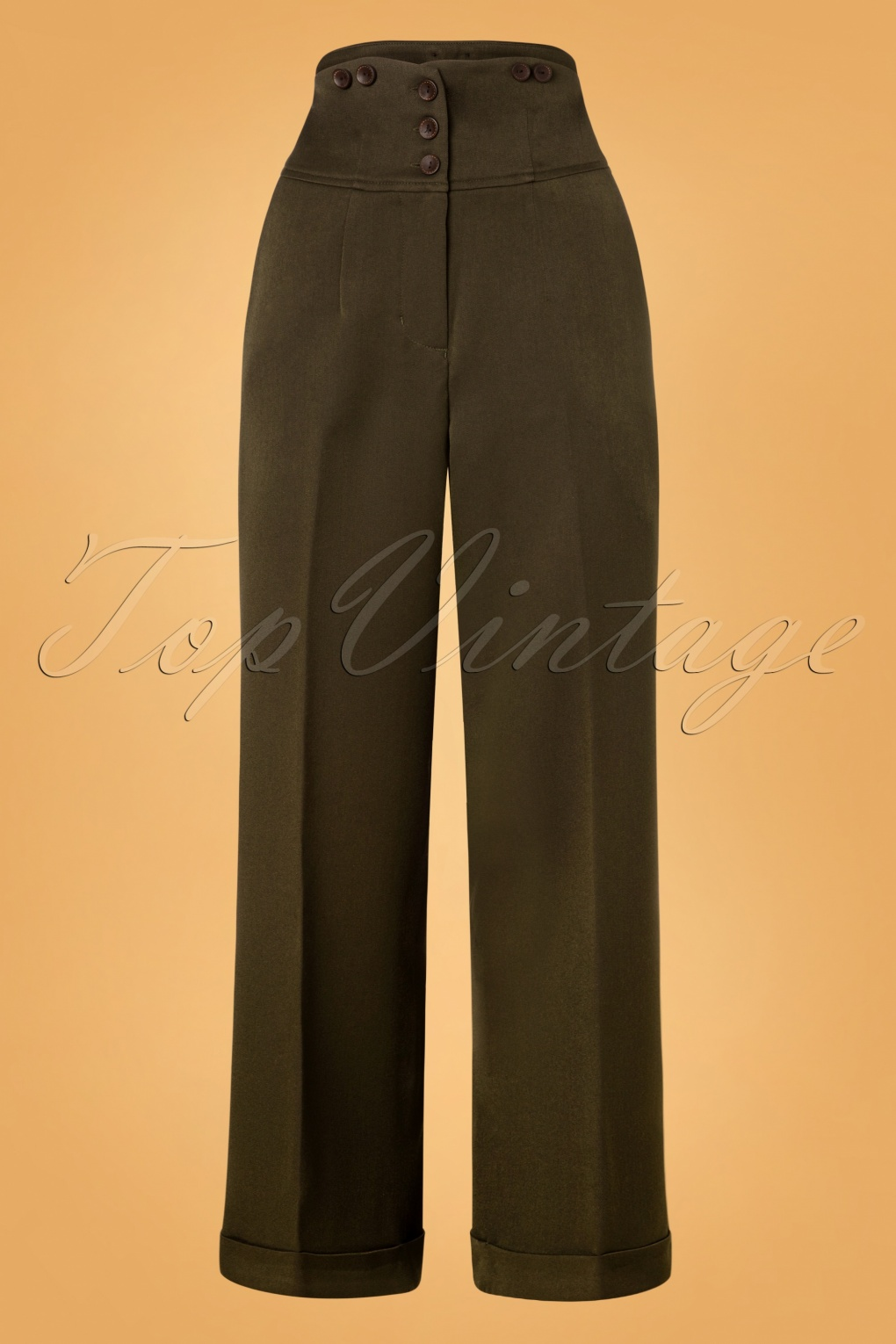 Vintage High Waisted Trousers, Sailor Pants, Jeans 50s Girl Boss Trousers in Dark Green £45.67 AT vintagedancer.com
