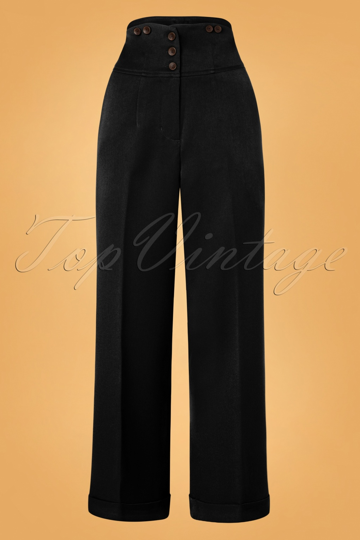 1950s Pants & Jeans- High Waist, Wide Leg, Capri, Pedal Pushers 50s Girl Boss Trousers in Black £37.84 AT vintagedancer.com