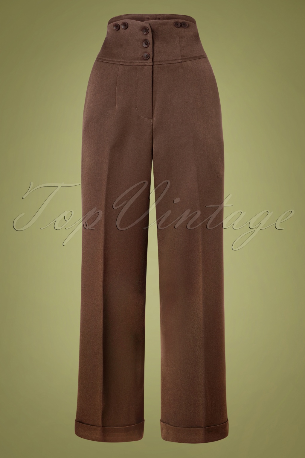 Vintage High Waisted Trousers, Sailor Pants, Jeans 50s Girl Boss Trousers in Brown £45.72 AT vintagedancer.com
