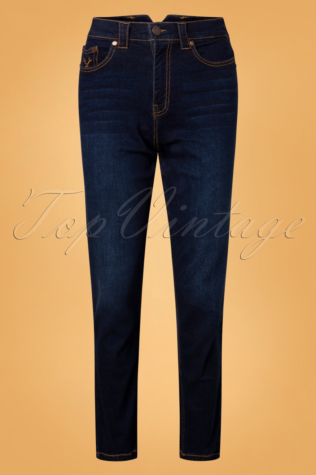 Vintage High Waisted Trousers, Sailor Pants, Jeans 50s Melly Jeans in Blue £82.52 AT vintagedancer.com