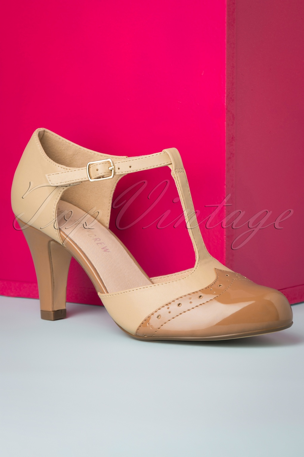 Vintage Heels, Retro Heels, Pumps, Shoes 20s Gatsby T-Strap Pumps in Tan and Nude £73.35 AT vintagedancer.com