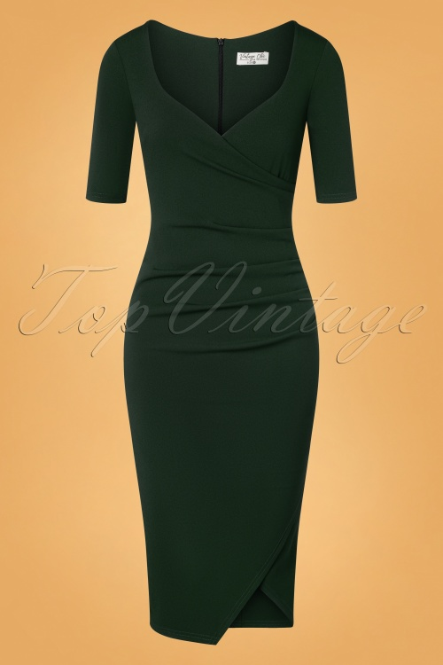50s Selene Pencil Dress In Forest Green