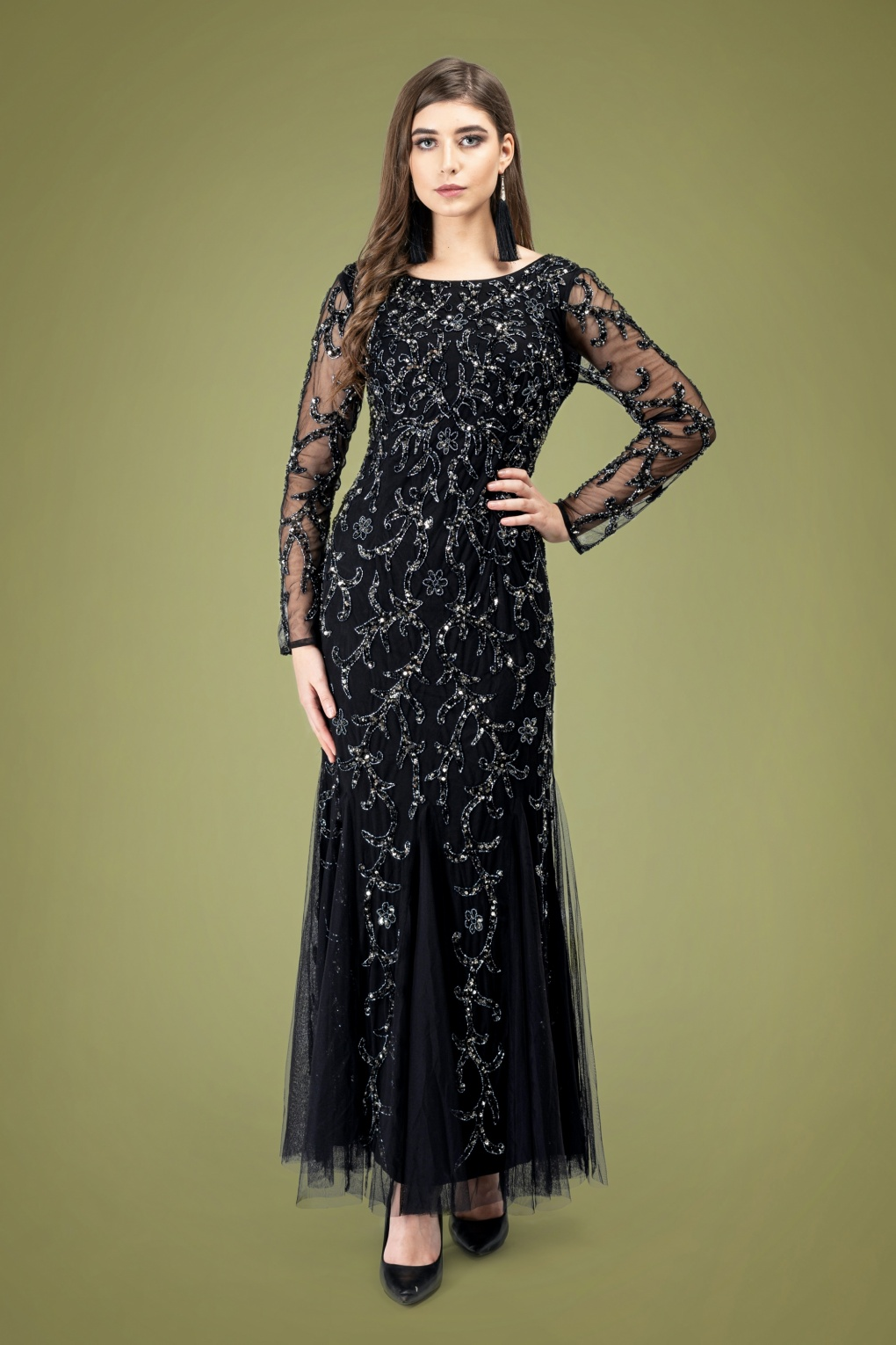 1920s Evening Dresses & Formal Gowns 20s Ava Full Sleeve Sequin Maxi Dress in Black £146.74 AT vintagedancer.com