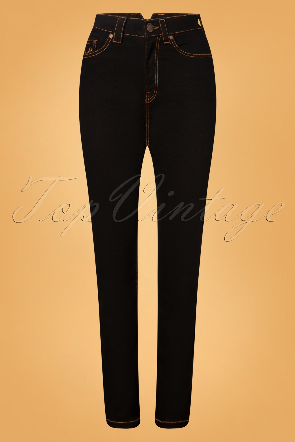 Vintage High Waisted Trousers, Sailor Pants, Jeans 50s Melly Jeans in Black £82.52 AT vintagedancer.com