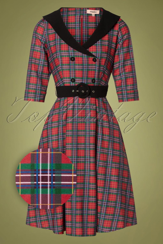 1950s Dresses, 50s Dresses | 1950s Style Dresses 50s Raakel Tartan Swing Dress in Red £73.35 AT vintagedancer.com