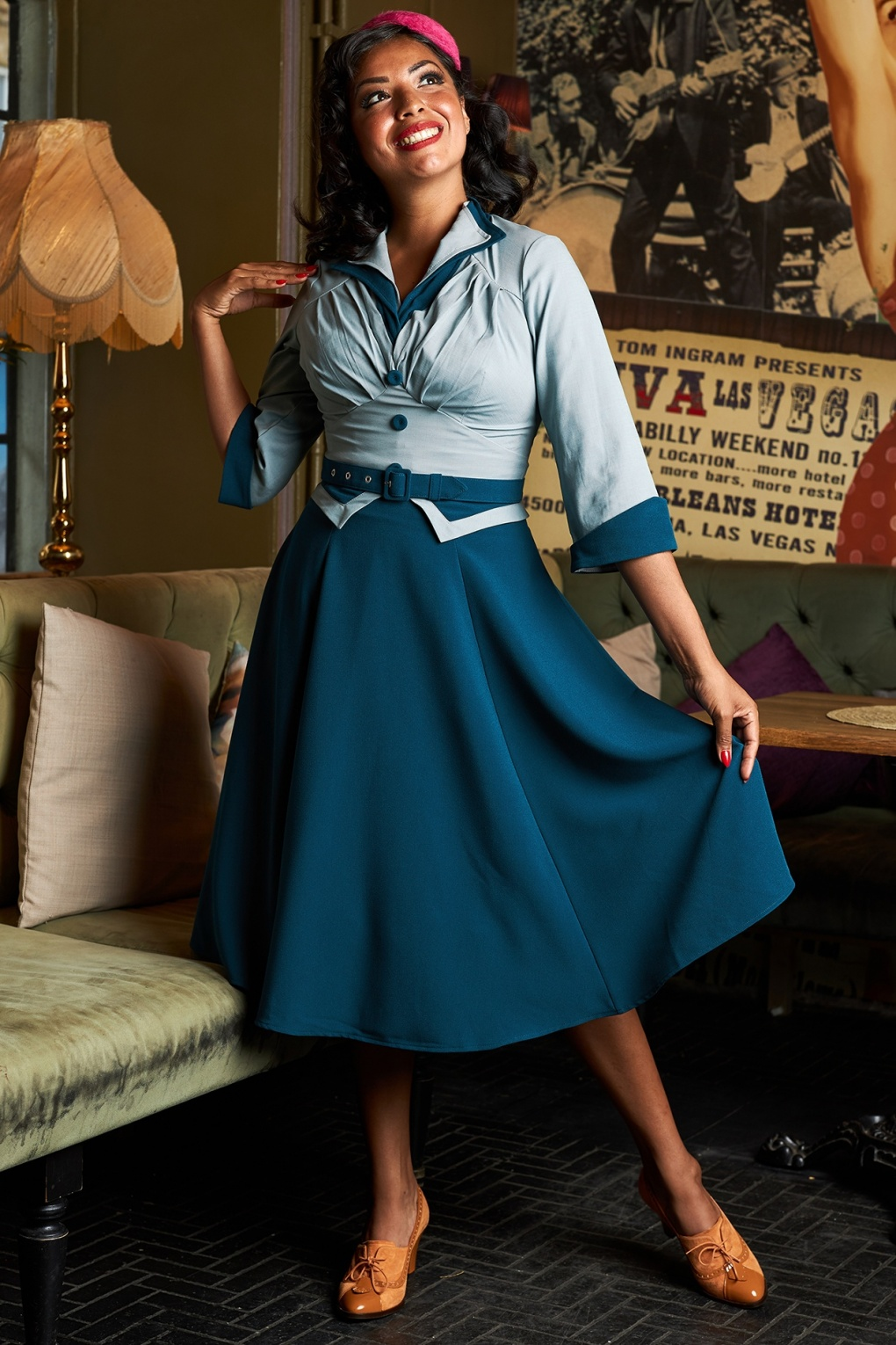 Plus Size Swing Dresses, Vintage Dresses 50s Maliah Kat Sophisticated Tailored Swing Dress in Petrol £100.39 AT vintagedancer.com