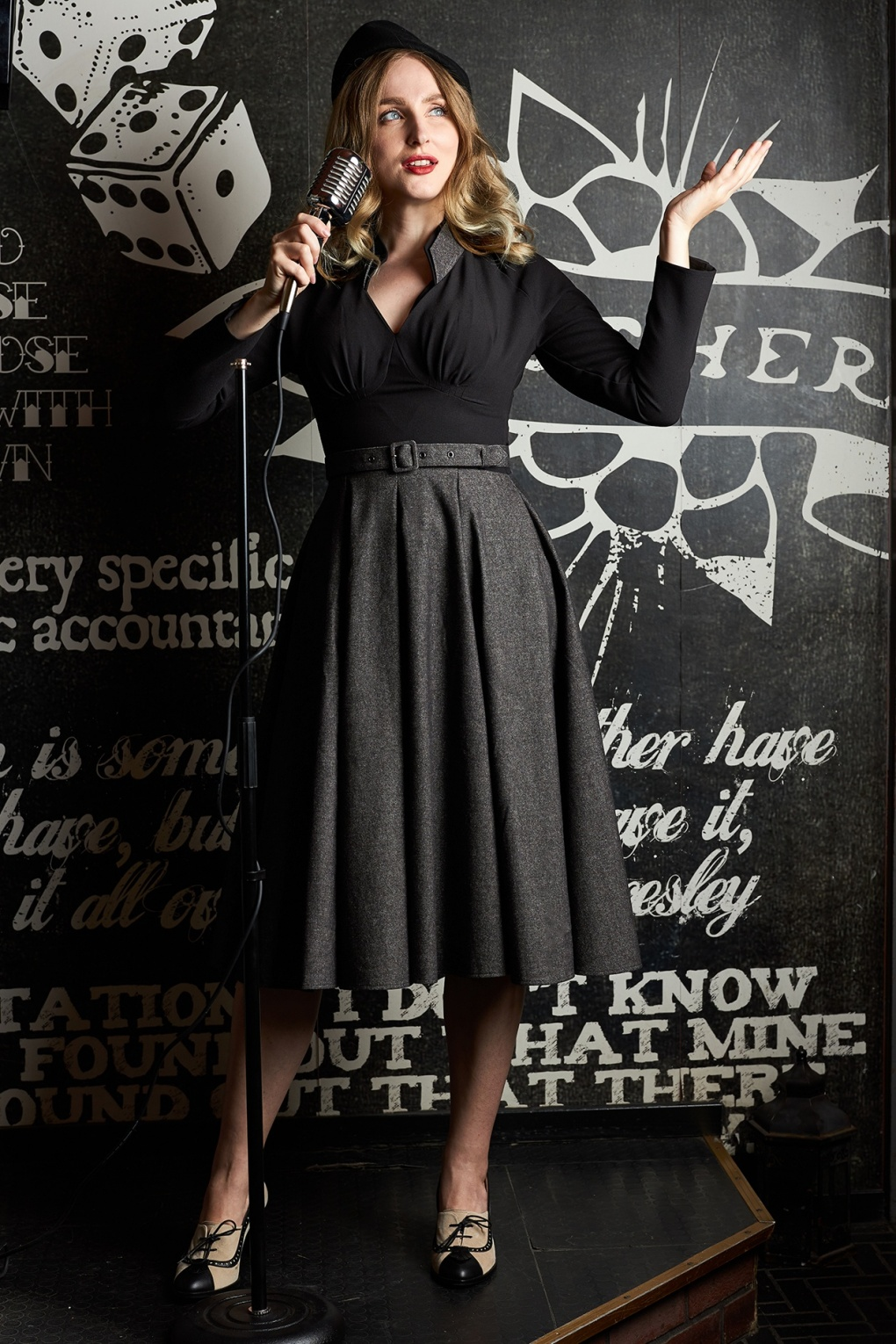 1950s Inspired Fashion: Recreate the Look 50s Stefanie Swing Dress in Black £121.00 AT vintagedancer.com