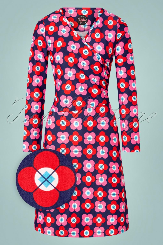 1960s Style Dresses, Clothing, Shoes UK 60s Tango Petal Dress in Navy £82.52 AT vintagedancer.com