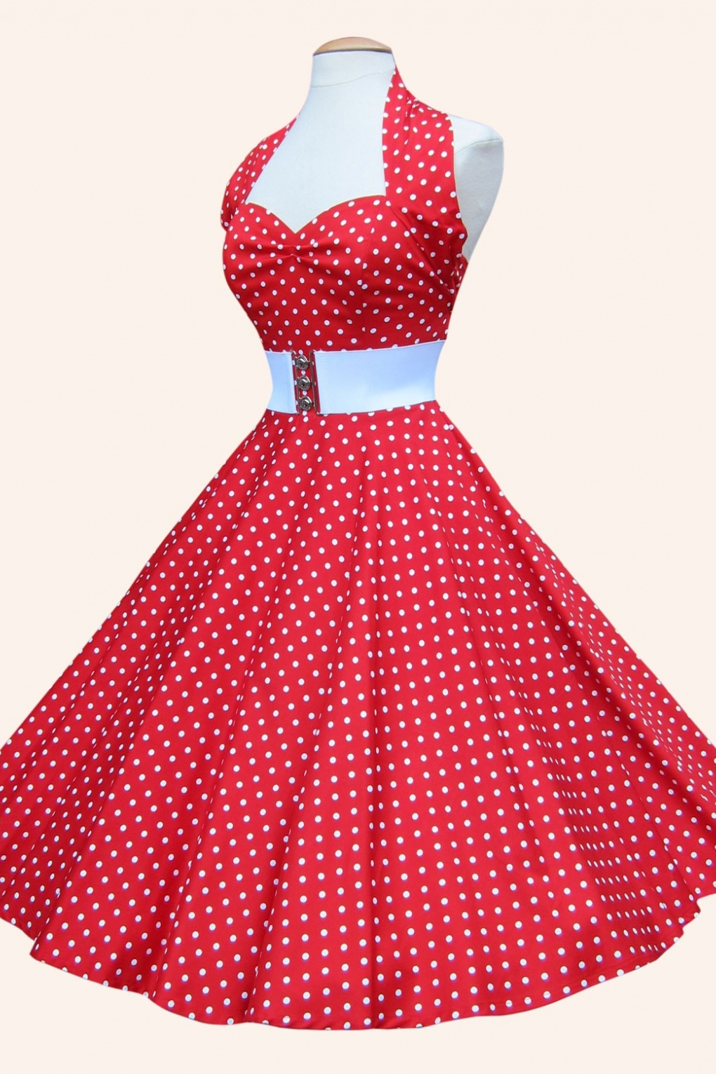 1950s Retro Halter Red White Spot Dress Cotton Sateen