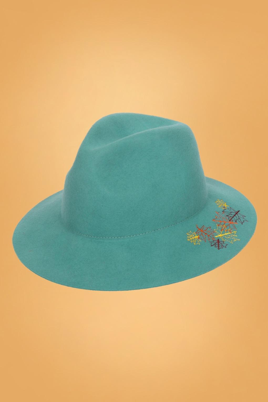 1960s Style Dresses, Clothing, Shoes UK 60s Embroidered Leaf Hat in Teal £55.00 AT vintagedancer.com