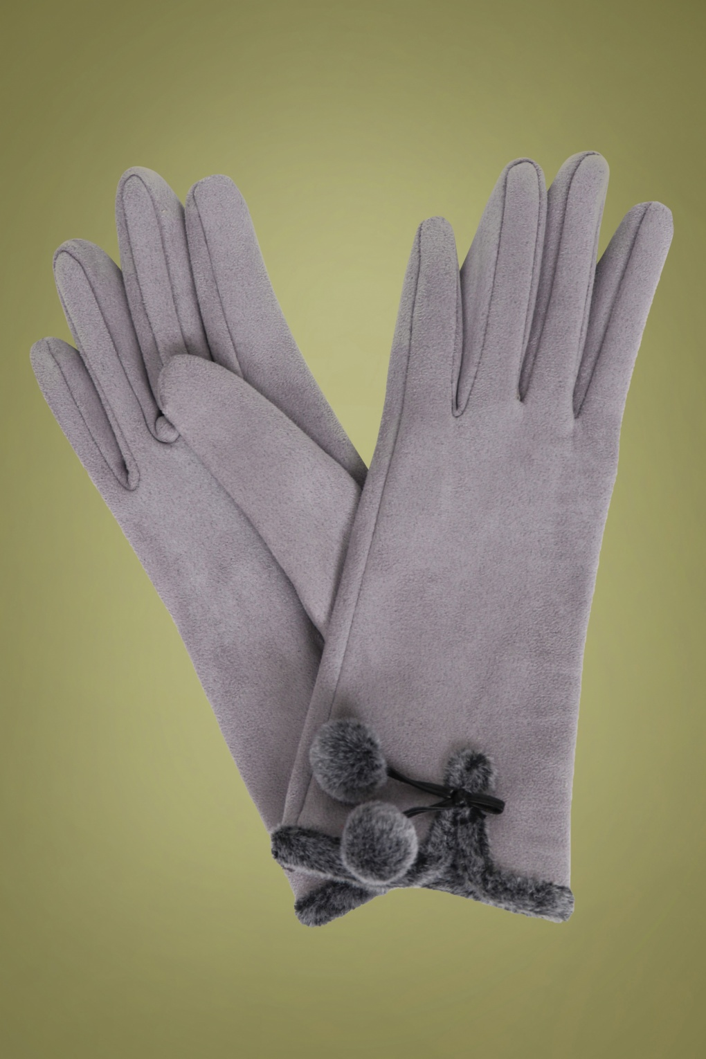 Vintage Style Gloves- Long, Wrist, Evening, Day, Leather, Lace 40s Amelia Pom Pom Suedine Gloves in Pale Grey £24.72 AT vintagedancer.com