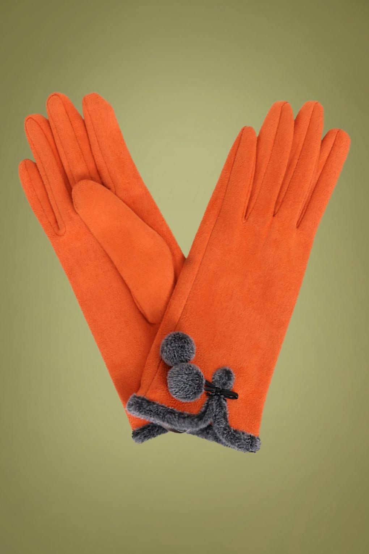 1950s Accessories | 50s Scarf, Belt, Parasol, Umbrella 40s Amelia Pom Pom Suedine Gloves in Tangerine £24.38 AT vintagedancer.com