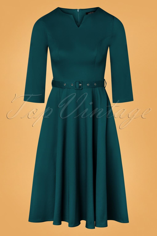 50s Dresses UK | 1950s Dresses, Shoes & Clothing Shops 50s Sadie Swing Dress in Teal Blue £50.41 AT vintagedancer.com