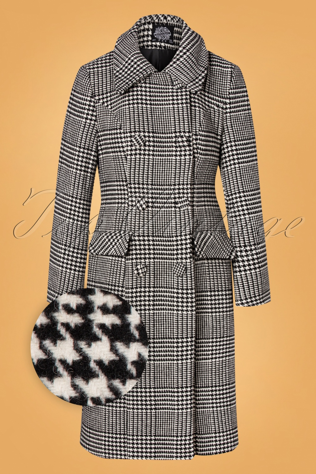 1950s Jackets, Coats, Bolero | Swing, Pin Up, Rockabilly 50s Isabelle Houndstooth Coat in Black and Ivory £98.45 AT vintagedancer.com