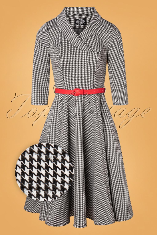 1950s Dresses, 50s Dresses | 1950s Style Dresses 50s Hanna Houndstooth Swing Dress in Black and White £45.42 AT vintagedancer.com