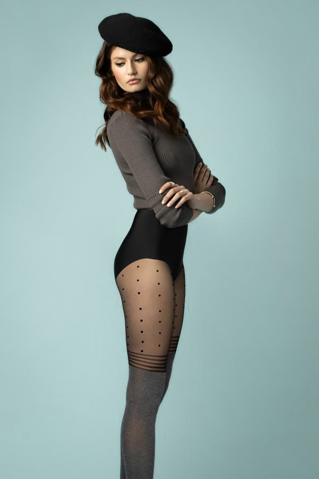 1960s Tights, Stockings, Panty Hose, Knee High Socks Cherish Me Tights Black and Grey £8.85 AT vintagedancer.com