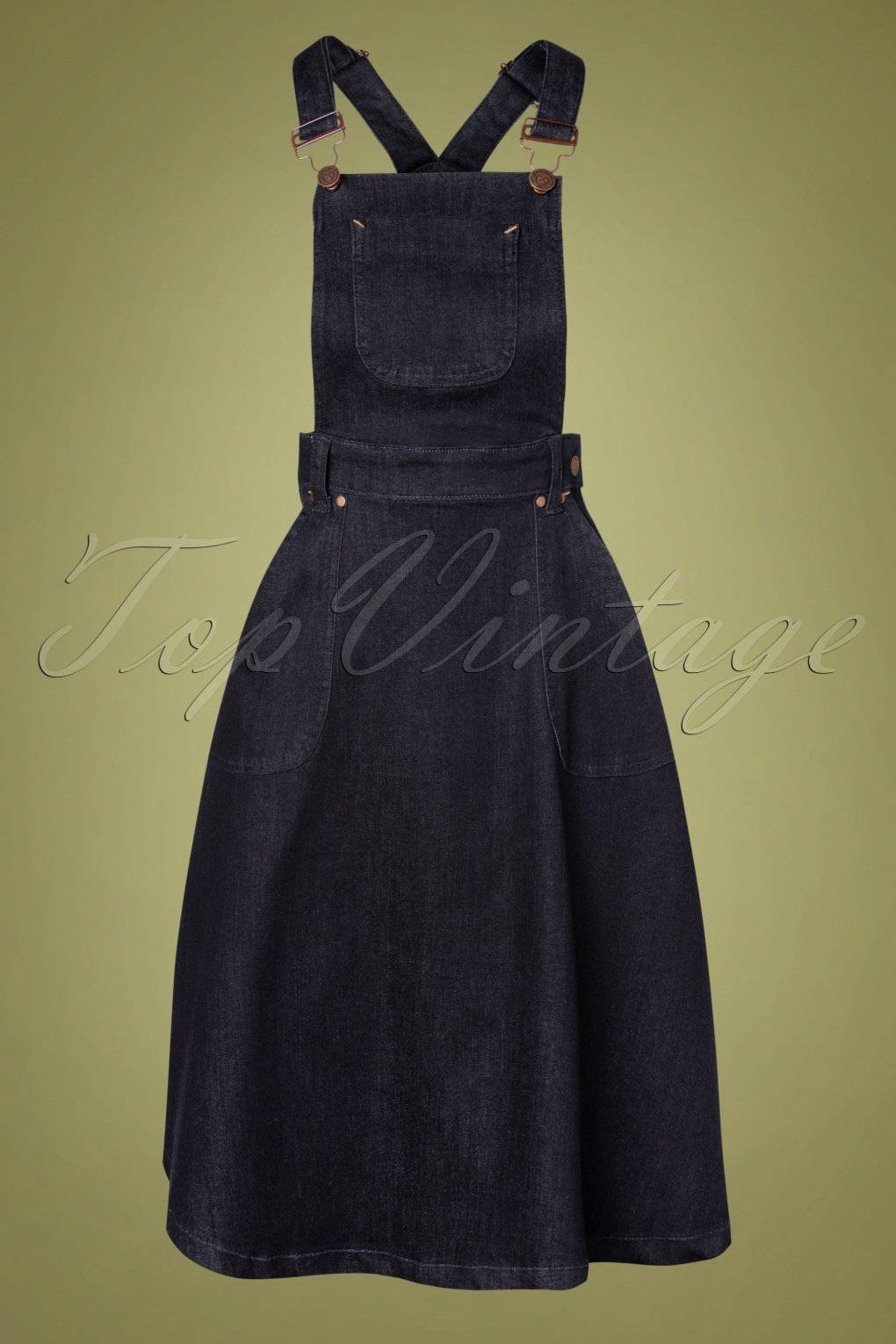 1950s Swing Skirt, Poodle Skirt, Pencil Skirts 50s Workwear Denim Jumper Skirt in Dark Blue £64.17 AT vintagedancer.com