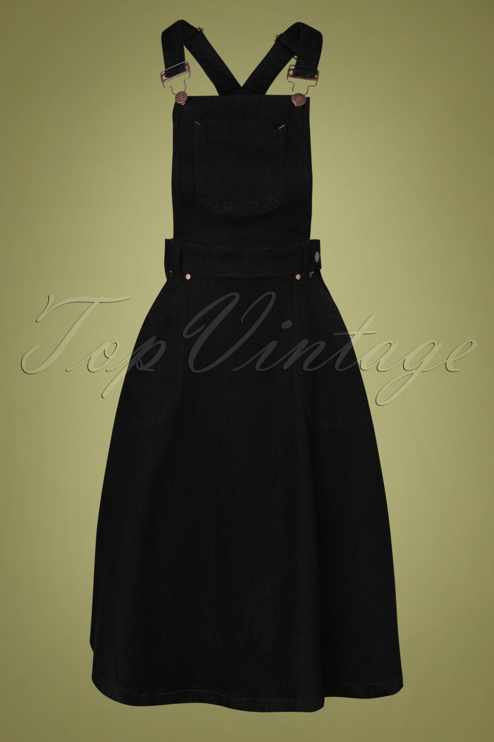 1950s Swing Skirt, Poodle Skirt, Pencil Skirts 50s Workwear Denim Jumper Skirt in Black £64.17 AT vintagedancer.com