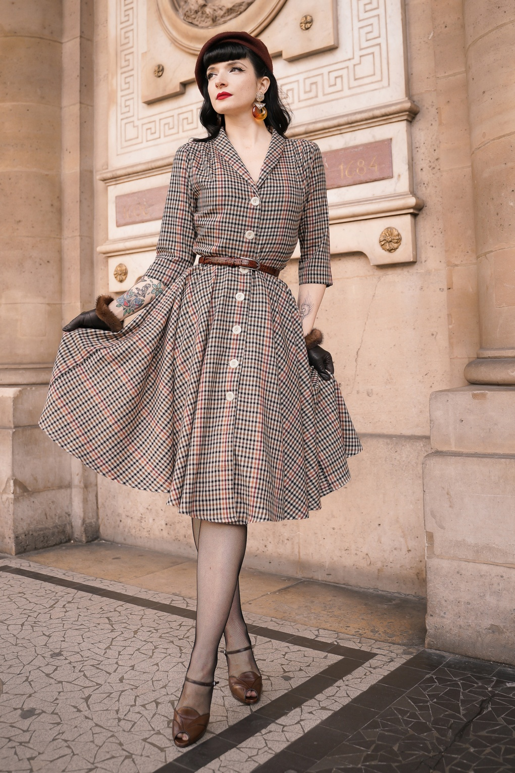 Vintage Style Dresses | Vintage Inspired Dresses 40s DLaine Dress in Nottingham Beige £135.72 AT vintagedancer.com